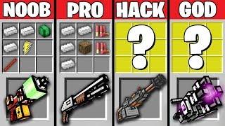 Minecraft Battle: NOOB vs PRO vs HACKER vs GOD : SUPER GUNS CRAFTING Challenge in Minecraft