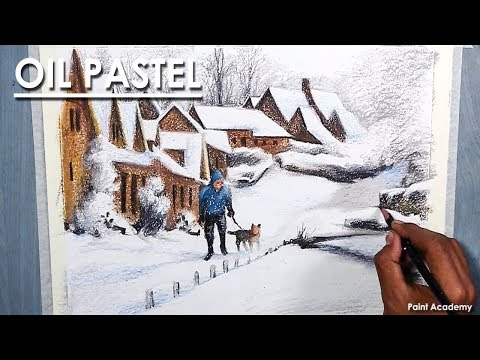 A Composition on Winter- in Oil Pastel, Epi- 2; step by step Drawing to Coloring