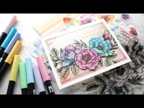 Stamping on Patterned Paper (Paper Piecing) - Simon's June 2018 Card Kit