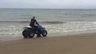 ATV Pulling  board on the beach... Quad Ciągnie deskę po plaży... Mielno 2016 ;)