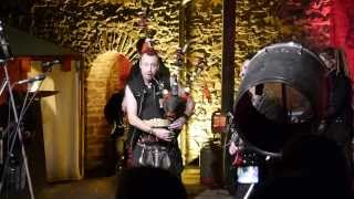 Jingle Bells with Celtica Pipes Rock and a burning bagpipe , Burg Altena November 2013