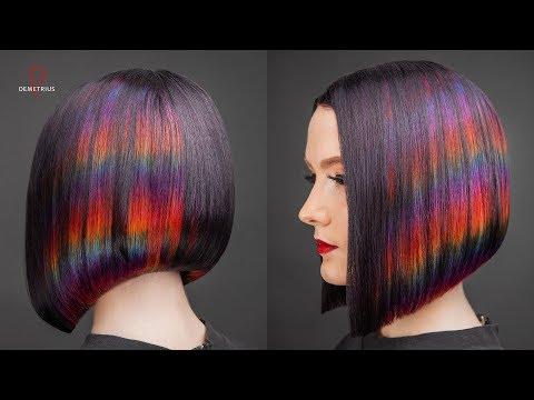 DEMETRIUS | Каре на удлинение + цветное окрашивание Глитч | Женская стрижка на короткие волосы photo