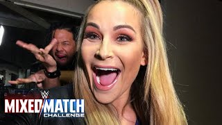 Shinsuke Nakamura photobombs his teammate Natalya en route to WWE Mixed Match Challenge