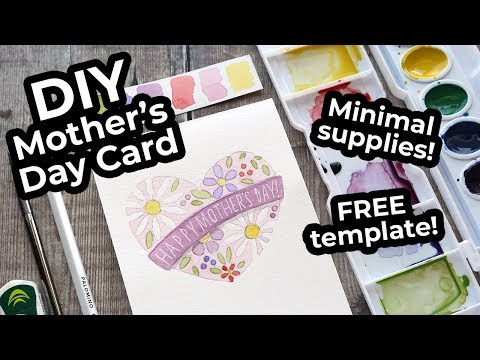 EASY DIY Watercolor Card - Mother's Day - Minimal Supplies Needed!