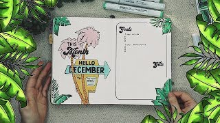 Plan With Me! | December 2018 | Tropical/Retro Theme Bullet Journal/Planner Setup