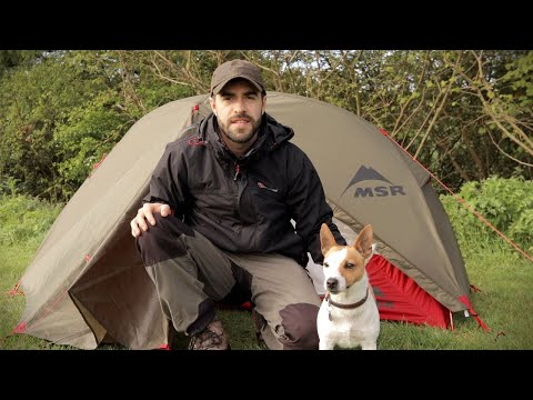 Man Alone Camping with His Dog - Twig Stove, Tent, Coastal Wild Camp