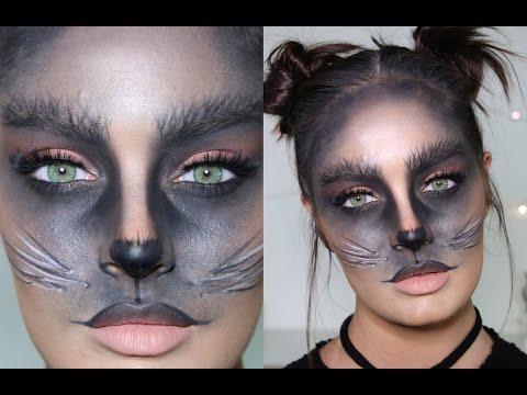 Cute Black Cat DIY Halloween Costume/Makeup Tutorial