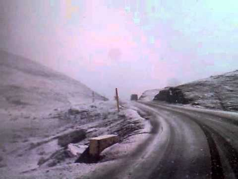 Snow road crossing Tichka Atlas Mountains from Ouarzazate to Marrakech Morocco – Part 1