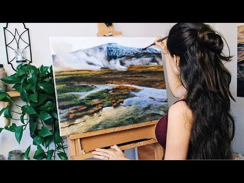 Oil Painting Time Lapse   Iceland Landscape, Hot Springs
