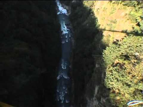 Attalla does a canyon swing in Nepal