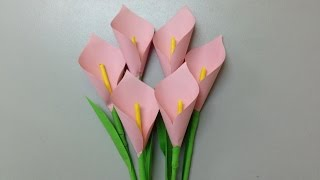 How to make calla lily paper flower | Easy origami flowers for beginners making | DIY-Paper Crafts width=