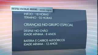Desfiles das escolas de samba mirins terão regras novas a partir de 2016