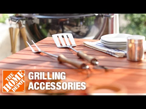 A video demonstrates different grilling tools.