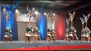 Cheer Extreme Senior Elite HITS their Vegas routine! width=