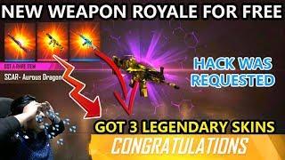 GOT 3 GUN SKINS FOR FREE 💎New Weapon Royale - Aurous Dragon Scar 🥺Live Reaction😭
