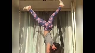 Beautiful hot desi teen girl hot workout, practicing handstand