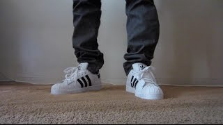 Adidas Superstar 2 On Feet (Shell Toe) White and Black