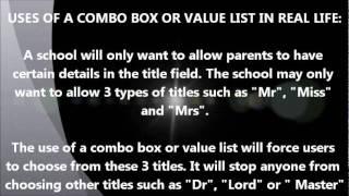 database combo box