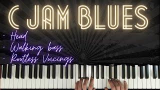 Walking Bass in C Blues ( C Jam Blues) │ Blues Piano Lessons #5