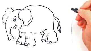 Cómo dibujar un Elefante paso a paso | Dibujo fácil de Elefante