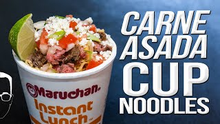 CARNE ASADA CUP NOODLES - THE BEST RAMEN RECIPE EVER | SAM THE COOKING GUY 4K