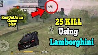 25 kill Free Fire using Car ( lamborghini)|| Free fire best world record game play tamil