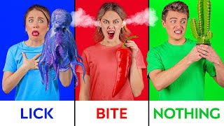 BITE, LICK OR NOTHING FOOD CHALLENGE || Halloween 'Trick or Treat' Taste Test by 123 GO! CHALLENGE