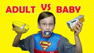 BABY FOOD VS ADULT FOOD CHALLENGE! | COLLINTV