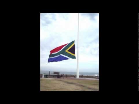 South African Flag Being Lowered,
