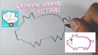Como Fazer o DESENHO MAIS FÁCIL do YouTube usando LETRAS!!