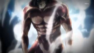 Shinegeki no Kyojin Eren transforms to Titan/ Kyojin [HD] Episode 9