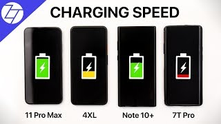 iPhone 11 Pro Max VS Pixel 4 XL VS Note 10+ VS OnePlus 7T Pro - Battery FAST CHARGING Test!