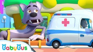 Big Bad Wolf Got Injured | Hickory Dickory Dock | Nursery Rhymes | Kids Songs | Baby Cartoon|BabyBus