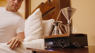 This alarm clock doubles as a coffee pot