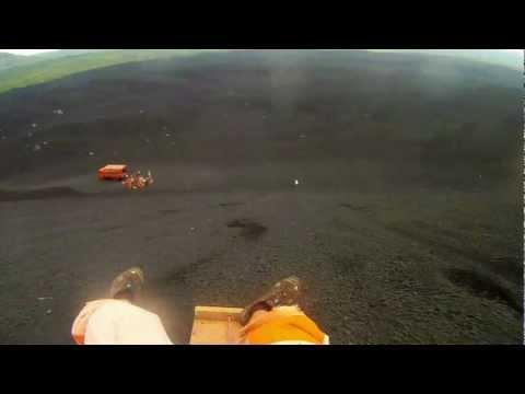 Volcano Boarding Nicaragua 50 KPH Fall GoPro HD