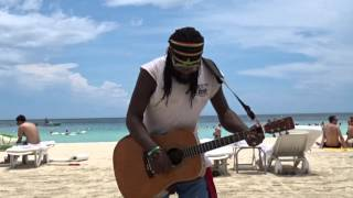 Ice Block musician on 7 Mile Beach Negril Jamaica May 2015