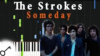The Strokes - Someday [Piano Tutorial] Synthesia | passkeypiano