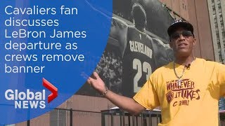 LeBron James remembered by Cleveland Cavaliers fans as banner removed