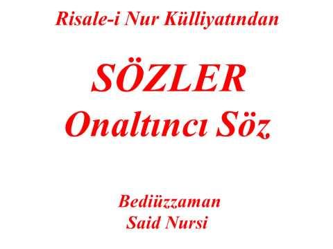 "Onaltıncı Söz ""Sözler"" ""Risale-i Nur Külliyatından"" ""Bediüzzaman Said Nursi"""