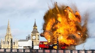 Bus explodes on london bridge for a movie scene