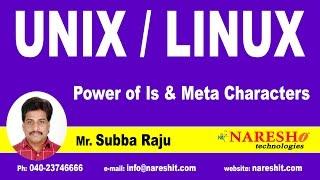 Power of ls & Meta Characters | UNIX Tutorial | Mr. Subba Raju