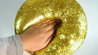 How To Make Slime : Fluffy Gold glitter Slime