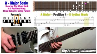 Guitar Lesson: A Major Scale in 7 Positions / Modes whole fretboard