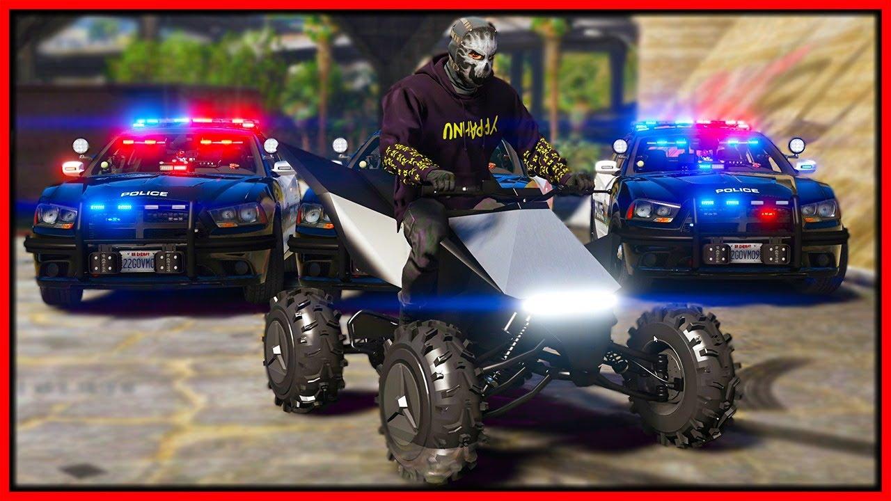 Elanip - GTA 5 Roleplay - trolling cops with Tesla CyberQuad | RedlineRP