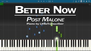 Post Malone - Better Now (Piano Cover) Synthesia Tutorial by LittleTranscriber