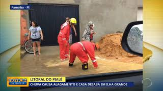 Chuva provoca desabamento de casa em Ilha Grande - PI