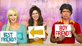 BELLE AND ELSA VS GASTON IN BEST FRIEND TAG. Totally TV Challenge.