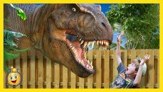 Jurassic Adventure GIANT T-Rex Dinosaur Chases Park Ranger LB Real Life Family Fun Kids Video & Toys