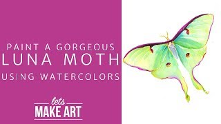 Paint a Luna Moth with Watercolors!!  Easy Painting Project!