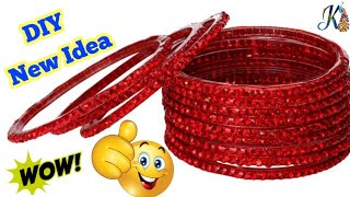 How to reuse old bangles at home | Best out of waste | DIY art and crafts | old bangles craft ideas width=